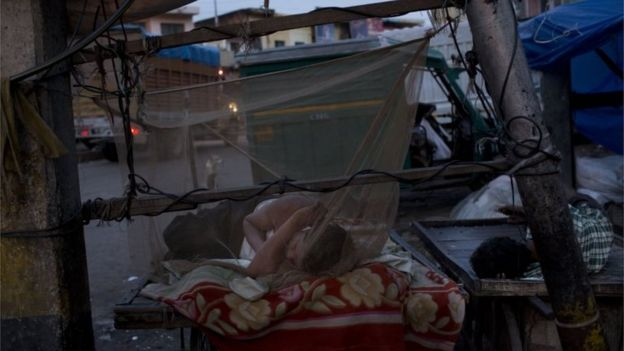 An Indian homeless man sleeps under a net to protect himself from mosquitoes in New Delhi, India, Tuesday, Sept. 22,