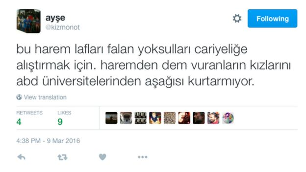 Tweet in Turkish from @kizmonot