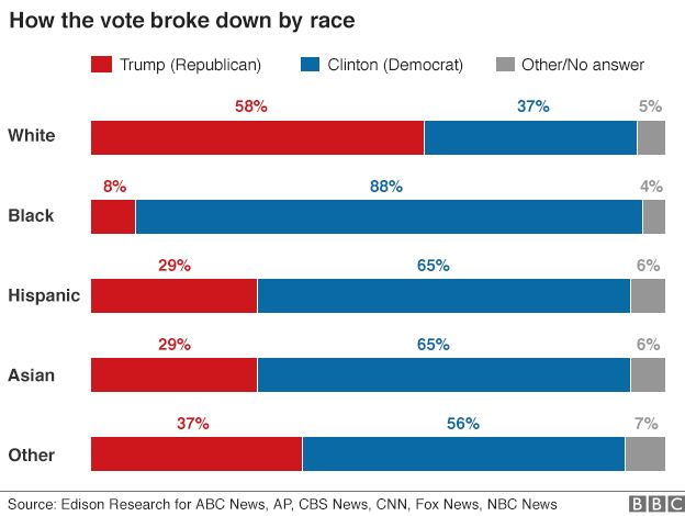 Chart showing breakdown of voting by race