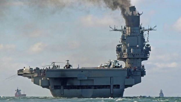 Russian aircraft carrier travelling through the English Channel