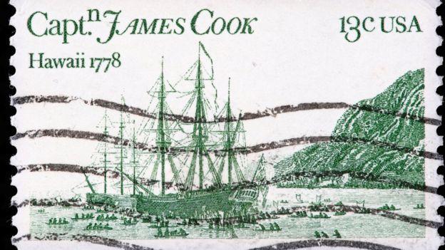 Estampilla conmemorando al capitán Cook.