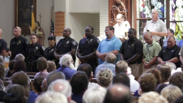 Vigil at Saint John the Baptist Church in Zachary, Baton Rouge, 17 July 2016