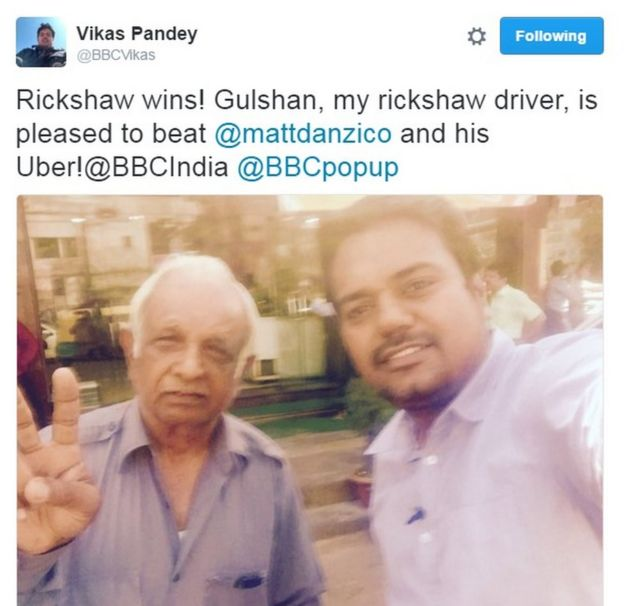 BBC Pop Up's Vikas Pandey tweets selfie with autorickshaw driver Gulshan. Text: