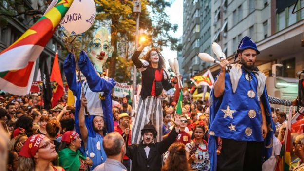 Supporters of President Dilma Rousseff protested in a number of cities