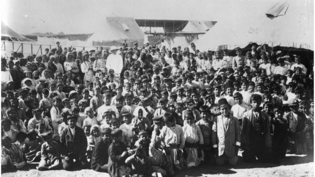 Circa 1915: Children of Armenian refugees in a refugee camp.