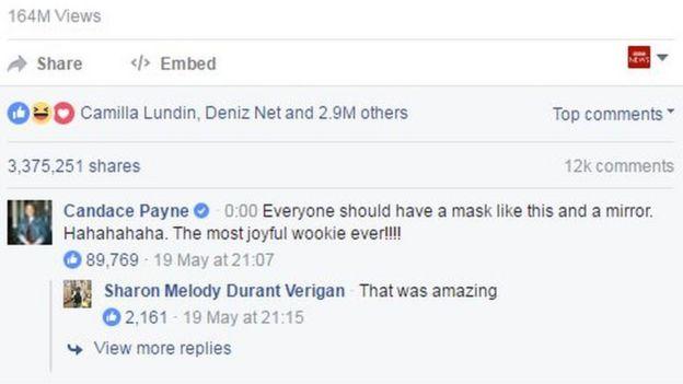 Comentario de Payne en Facebook que dice