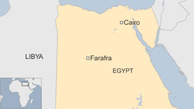 Map of Egypt showing Farafra in the Western Desert