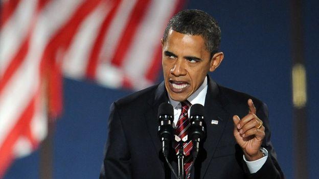 2008年的奥巴马在芝加哥发表竞选演讲