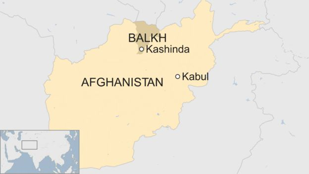 Map of Afghanistan denoting the Balkh province