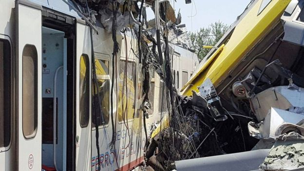 Crash site where two trains collided on a single-track stretch between Ruvo di Puglia and Corato, in southern Italy