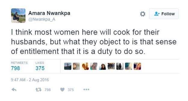 I think most women here will cook for their husbands, but what they object to is that sense of entitlement that it is a duty to do so.