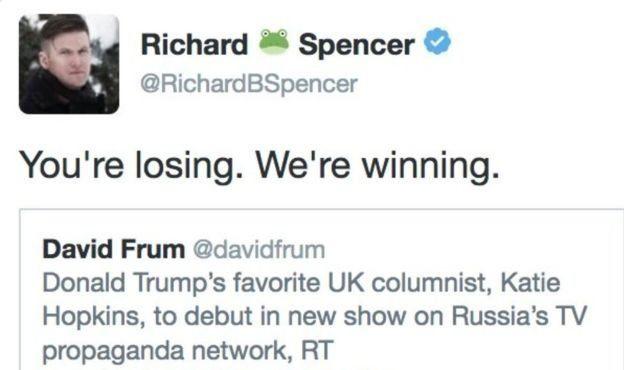 Alt-Right hareketi üyelerinden biri trumpı destekleyen tweet