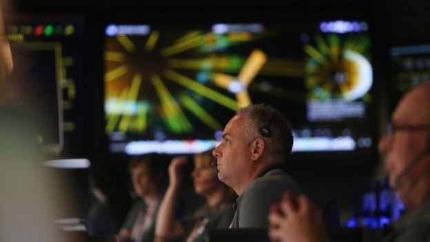 El centro de comando de la misión Juno