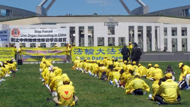 Falun Gong practitioners demonstrate outside Australia