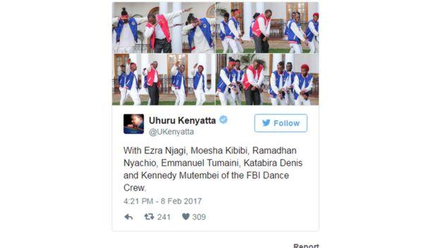 Mtandao wa kijamii wa Rais Uhuru Kenyatta ukiwa na picha za densi ya Dab