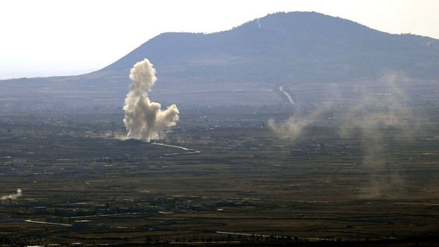 Vista dos combates na Síria a partir das Colinas de Golã
