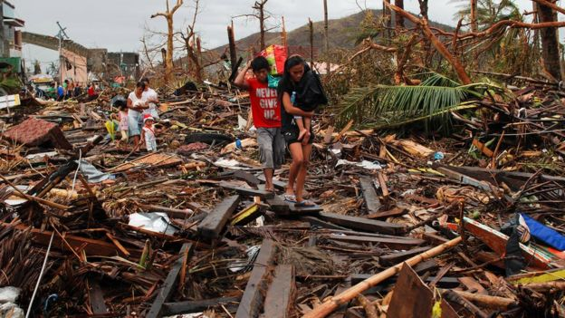 Aftermath of Typhoon Haiyan in 2013