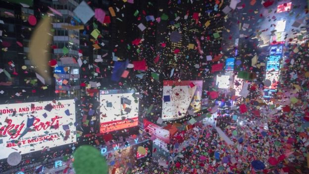 Confetti in Times Square, New York, 1 January 2017