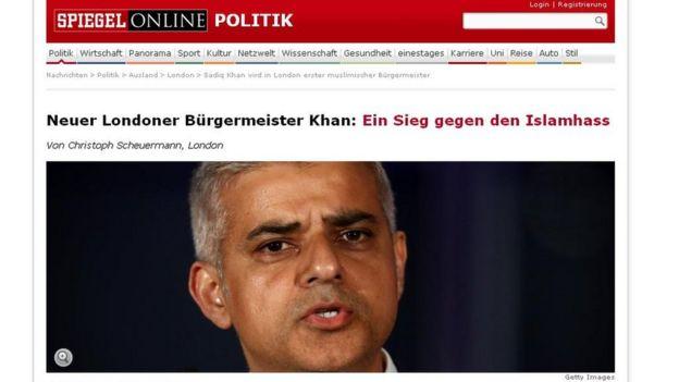 Headline about Sadiq Khan's victory in Der Spiegel