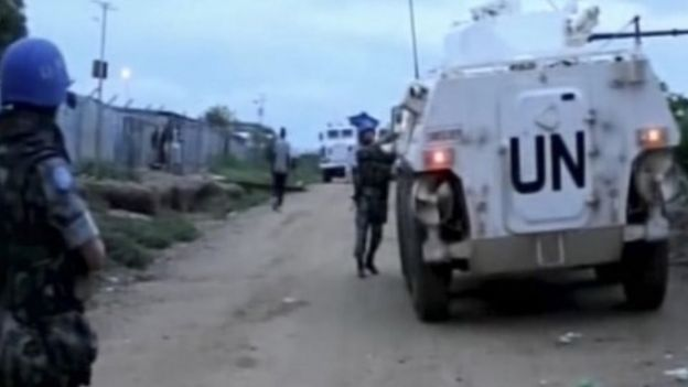 UN armoured personnel carrier in Juba