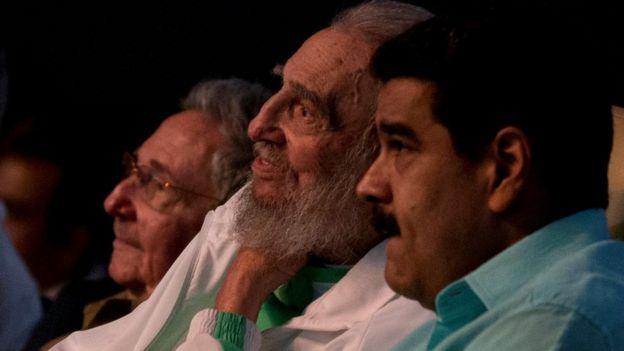 Raúl Castro, Fidel Castro e Nicolás Maduro