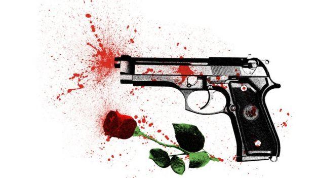 Ilustración de pistola disparando sangre y rosa.