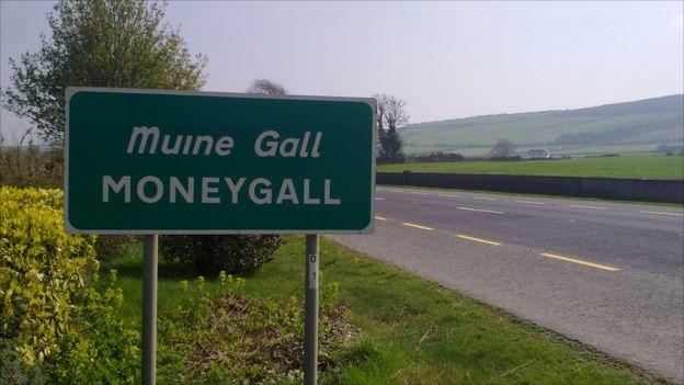 Moneygall en el cnetro de Irlanda.