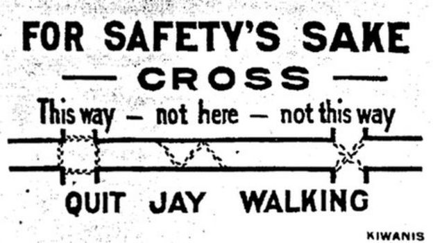 Image of a card handed to pedestrians in Hartford, Connecticut, in 1921. Reproduced in Street Rivals: Jaywalking and the invention of the Motor Age by Peter Norton, Technology and Culture, Volume 48, Number 2, April 2007