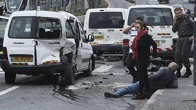 Scene of van attack in Jerusalem (05/11/14)