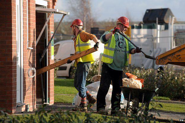 Builders on a site in Birmingham