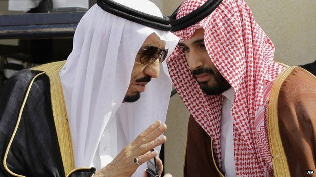 King Salman and his son and adviser Prince Mohammed pictured in 2012