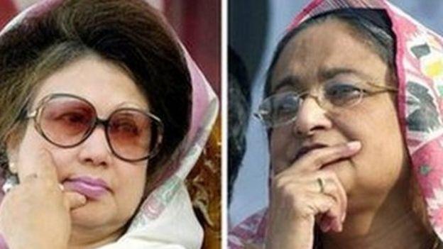 BNP leader Khaleda Zia (left) and Awami League leader Sheikh Hasina