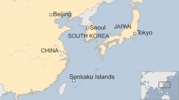 Map showing the capitals of Japan  China and South Korea  as well as the BBC