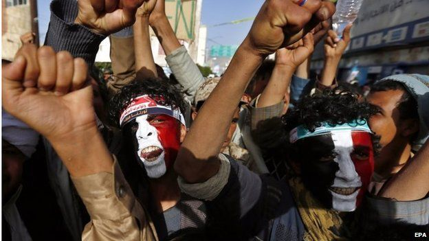 Houthi supporters in Sanaa (27/02/15)
