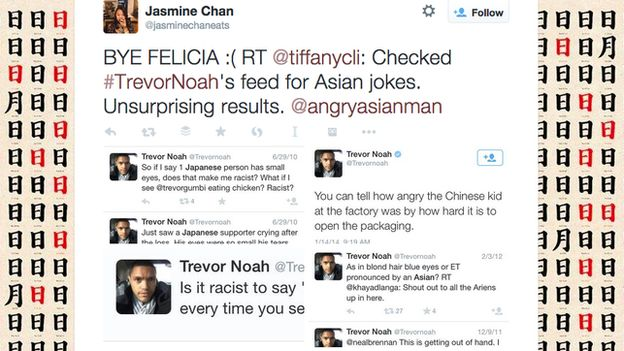 Checked TreverNoah's feed for Asian jokes, Unsurprising results.