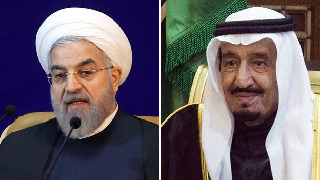 Hassan Rouhani and King Salman