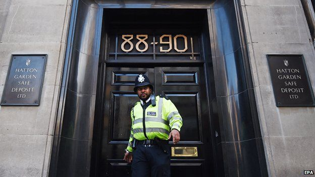 POliceman outside Hatton Garden Safe Deposit Ltd.