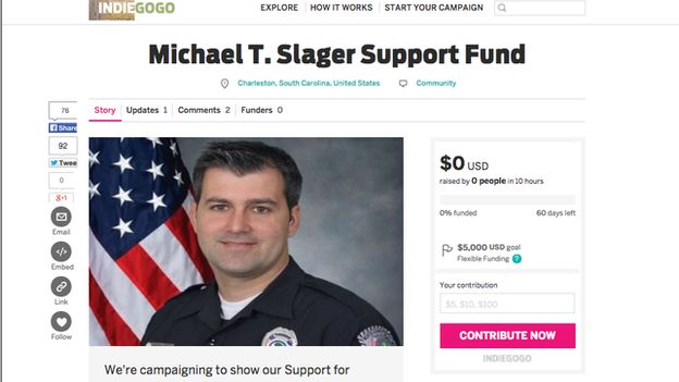 Indiegogo campaign for Michael Slager screen grab
