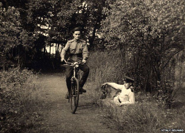 Vladimir Gelfand on his bicycle