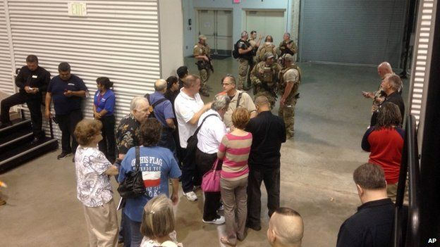 Conference attendees and police at Curtis Culwell Center in Garland, TX