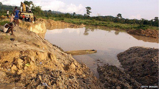 Informal gold mine in Ghana