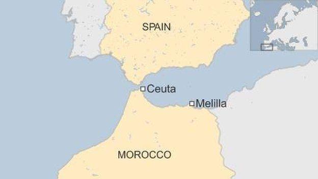 Maabka Spain iyo Moroko oo muujinaya meesha ay ku taallo Ceuta iyo Melilla
