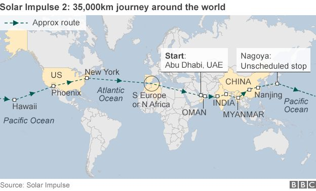 Map of journey of Solar Impulse 2 around the world