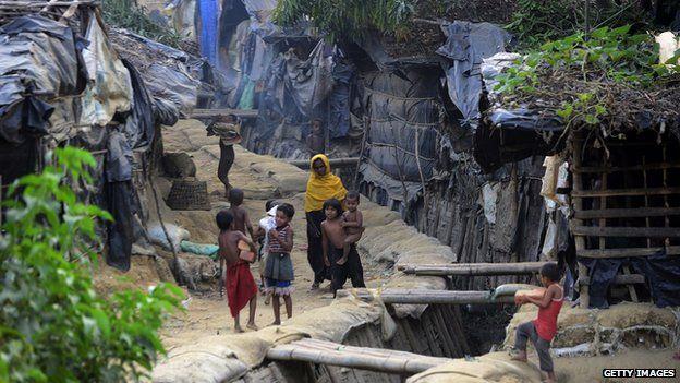 Migrants at a Rohingya camp in Teknaf, Bangladesh
