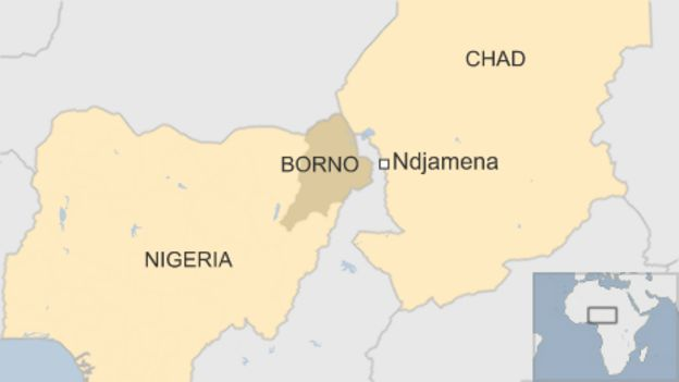 Map of Chad and Nigeria