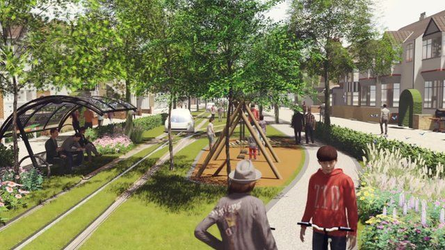 CGI of suburban street of the future by architect firm HTA
