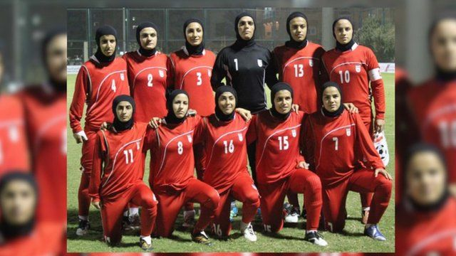 A photograph of the Iranian women's football team reportedly taken in April, 2015.