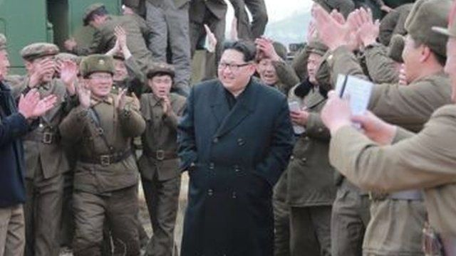 Picture released by North Korean news agency KCNA showed Kim Jong-un at what it said was the testing of a multiple launch rocket system
