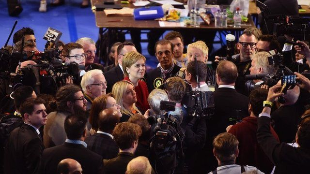Nicola Sturgeon at the count at Glasgow's Emirates Arena