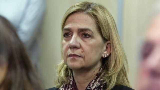 Spain's Princess Cristina sits in court where she appears on charges of tax fraud in Palma de Mallorca